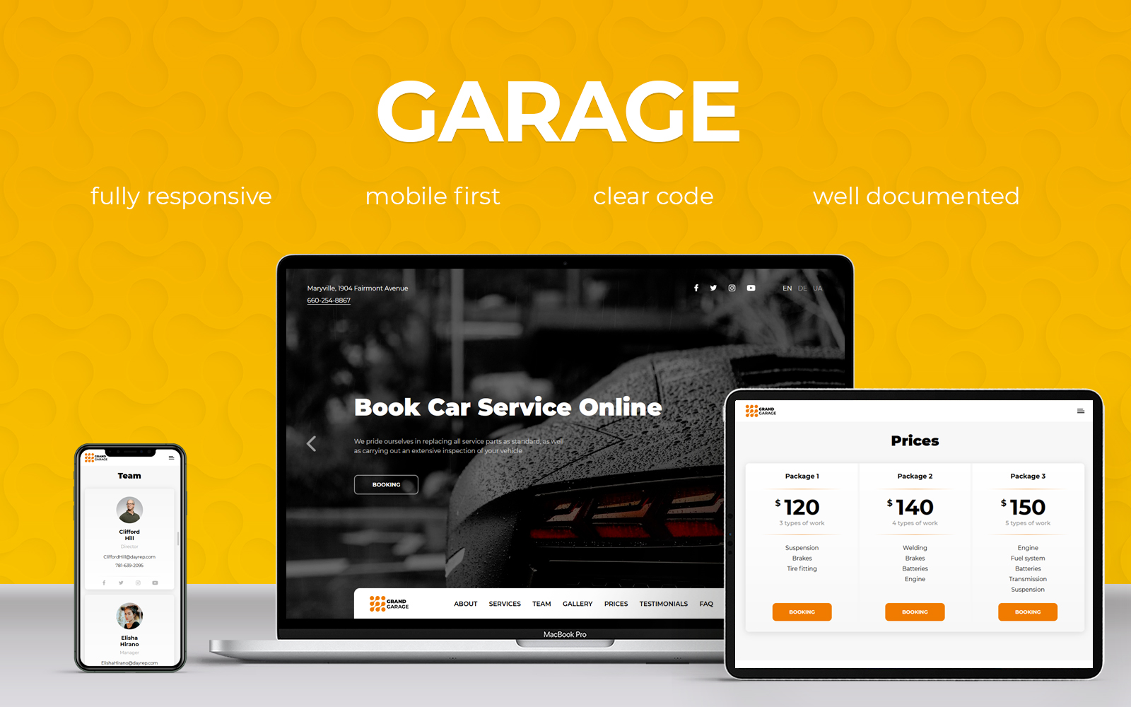 Responsywny szablon Landing Page Garage #102491