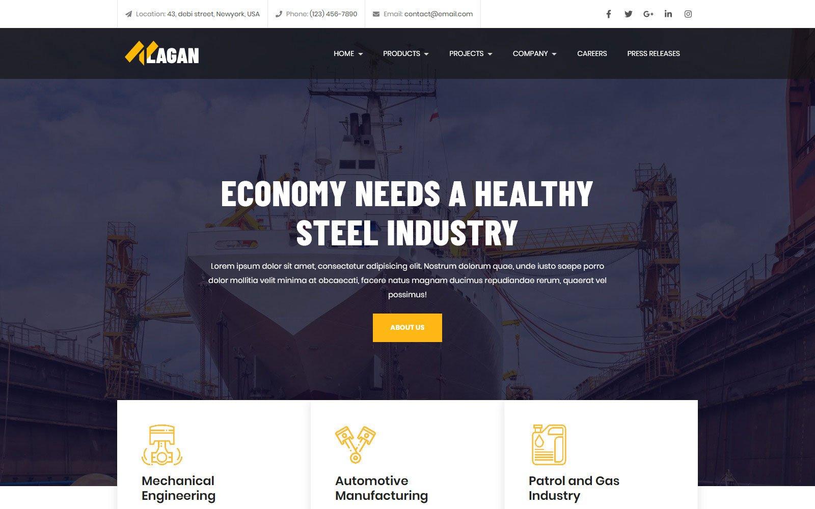 "Responzivní Šablona mikrostránek ""Lagan - Multipurpose Industrial & Factory"" #102440"