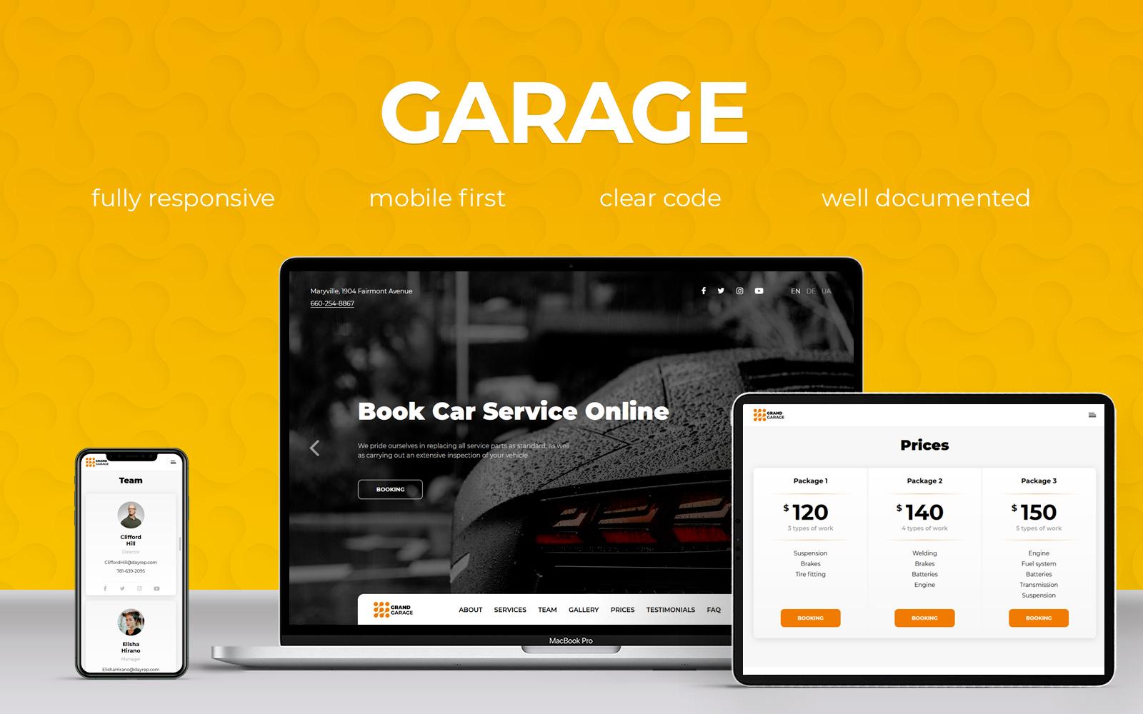 Reszponzív Garage Nyítóoldal sablon 102491