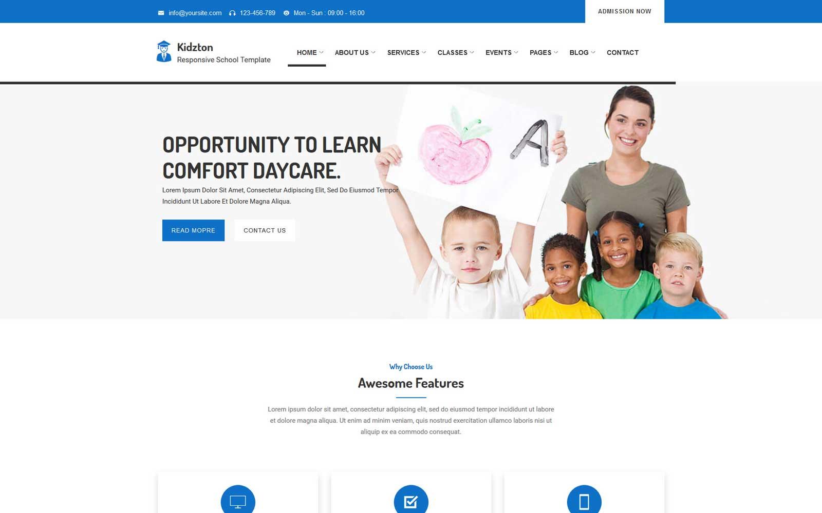 Reszponzív Kidzton - Responsive School Weboldal sablon 102407