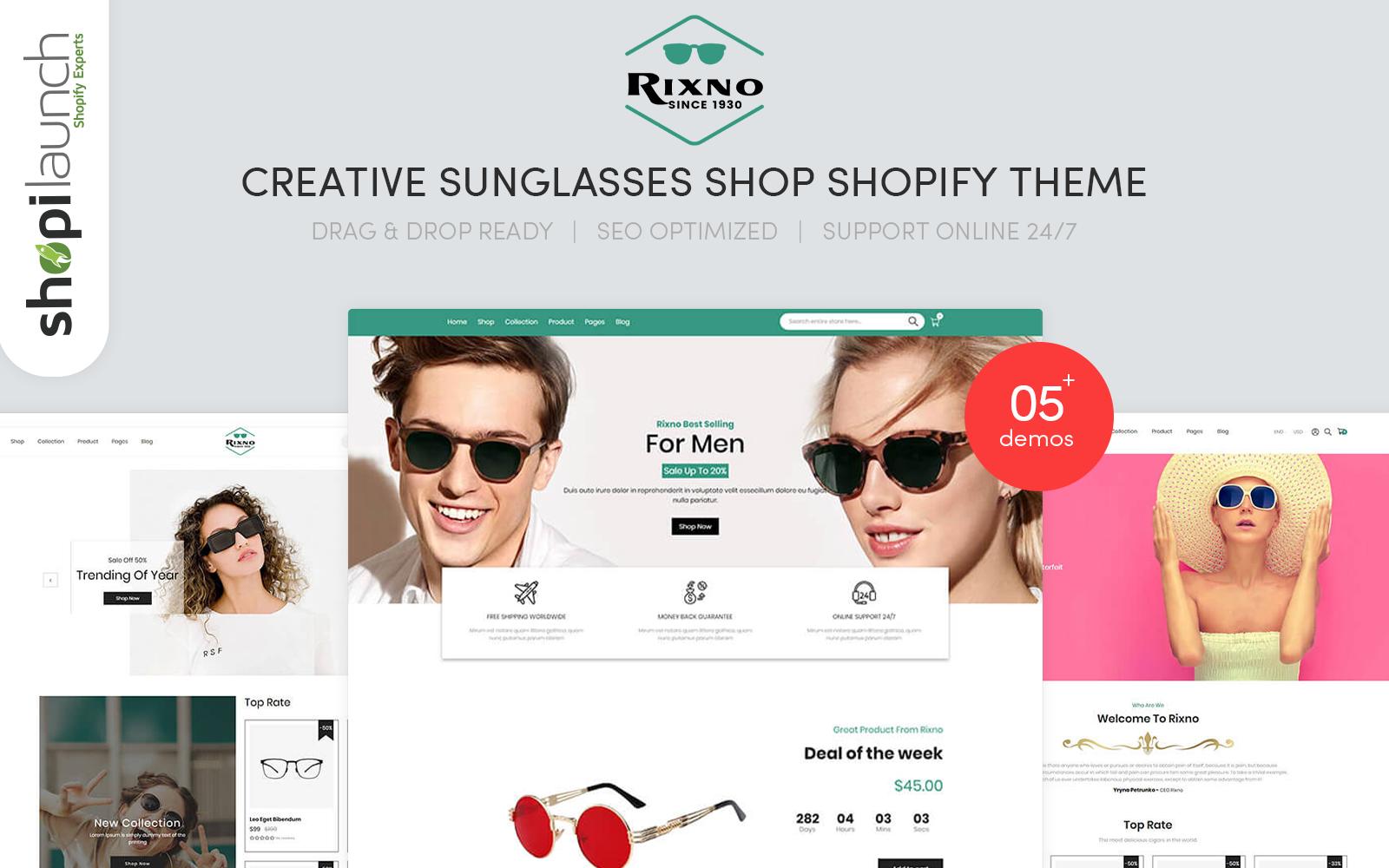 """Rixno - Creative Sunglasses Shop"" 响应式Shopify模板 #102403"