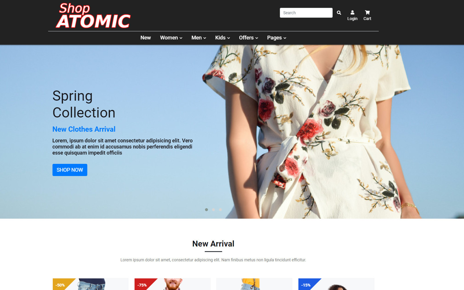 "Website Vorlage namens ""Shop Atomic - Faschion Shop Bootstrap HTML"" #102494"