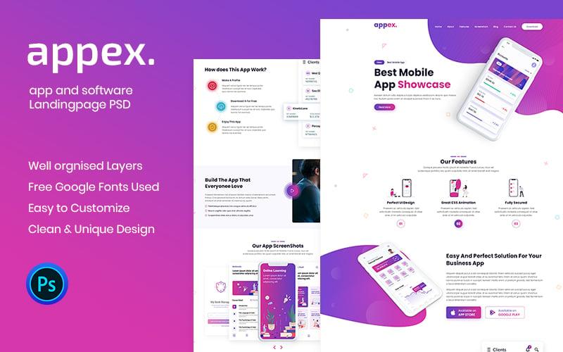 """Appex-App Landing Page"" PSD Template №102538"