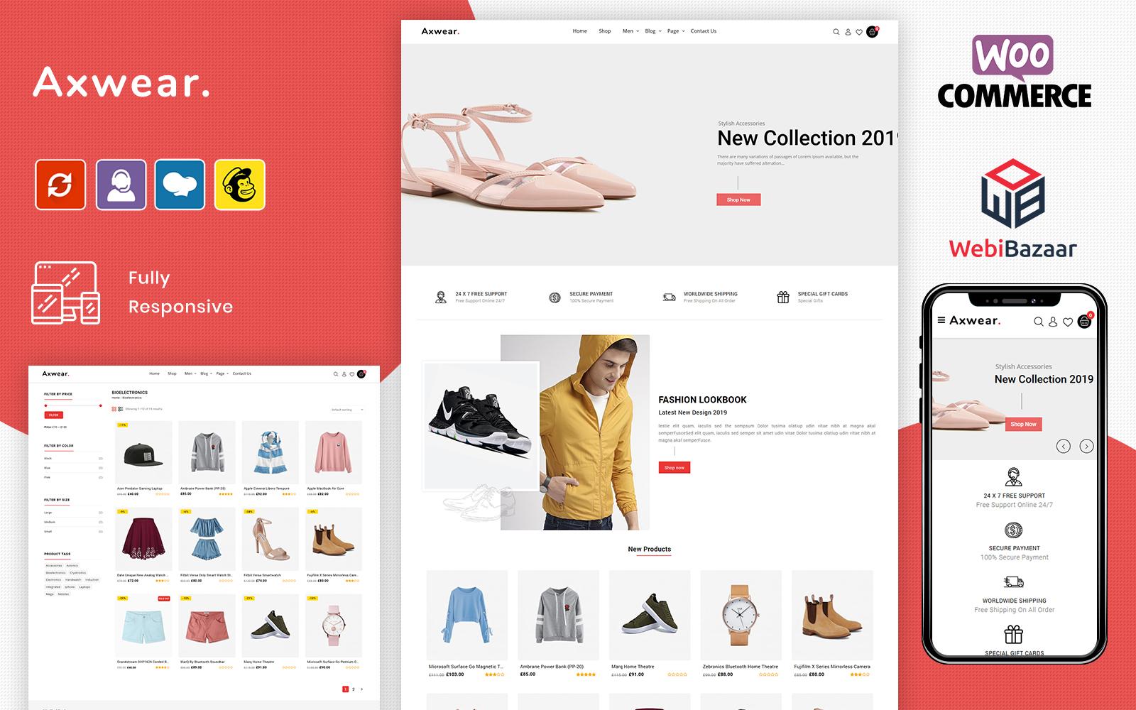"""Axwear - Fashion Multipurpose"" - bootstrap WooCommerce шаблон №102540"