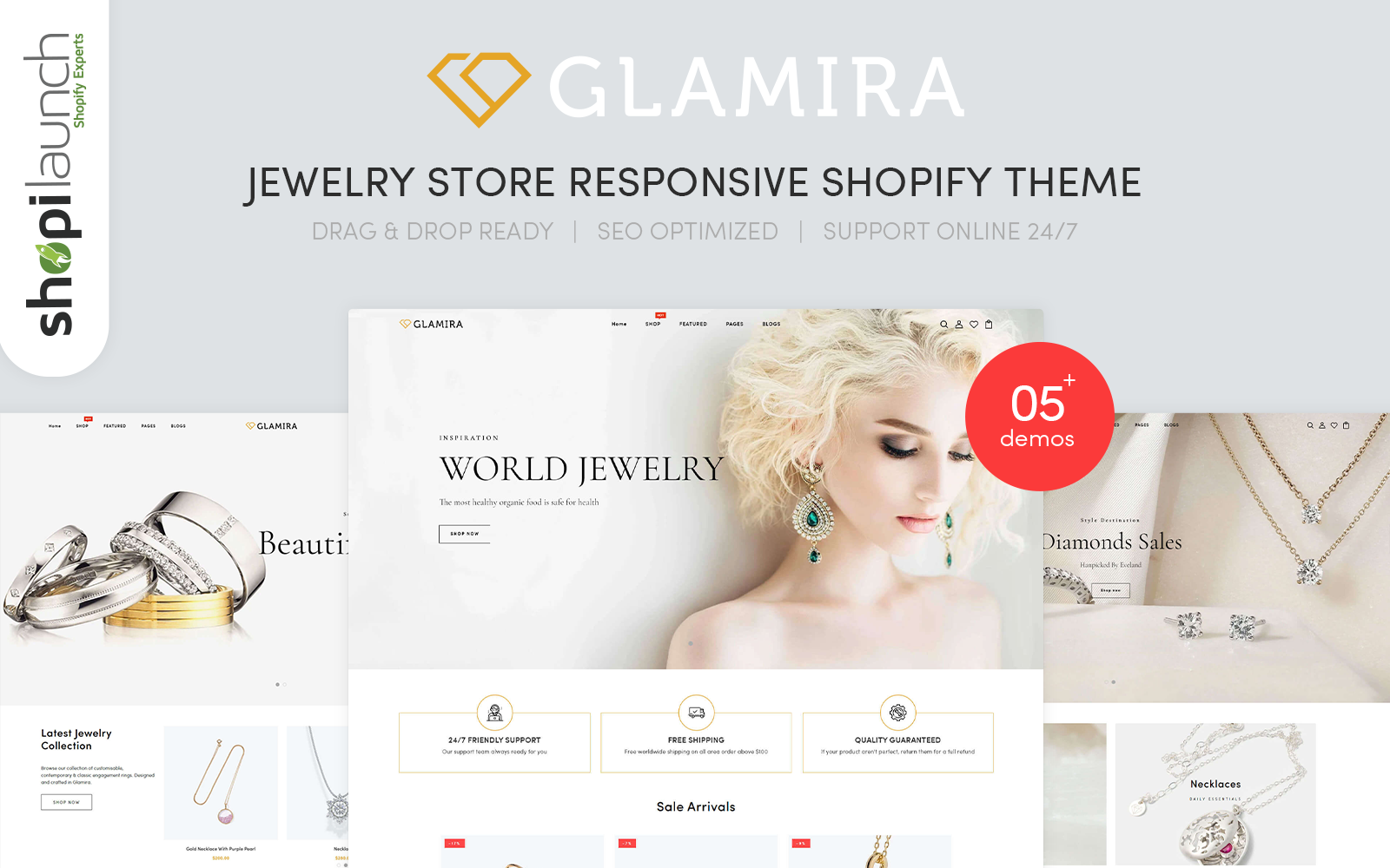 """Glamira - Jewelry Store Responsive"" 响应式Shopify模板 #102599"