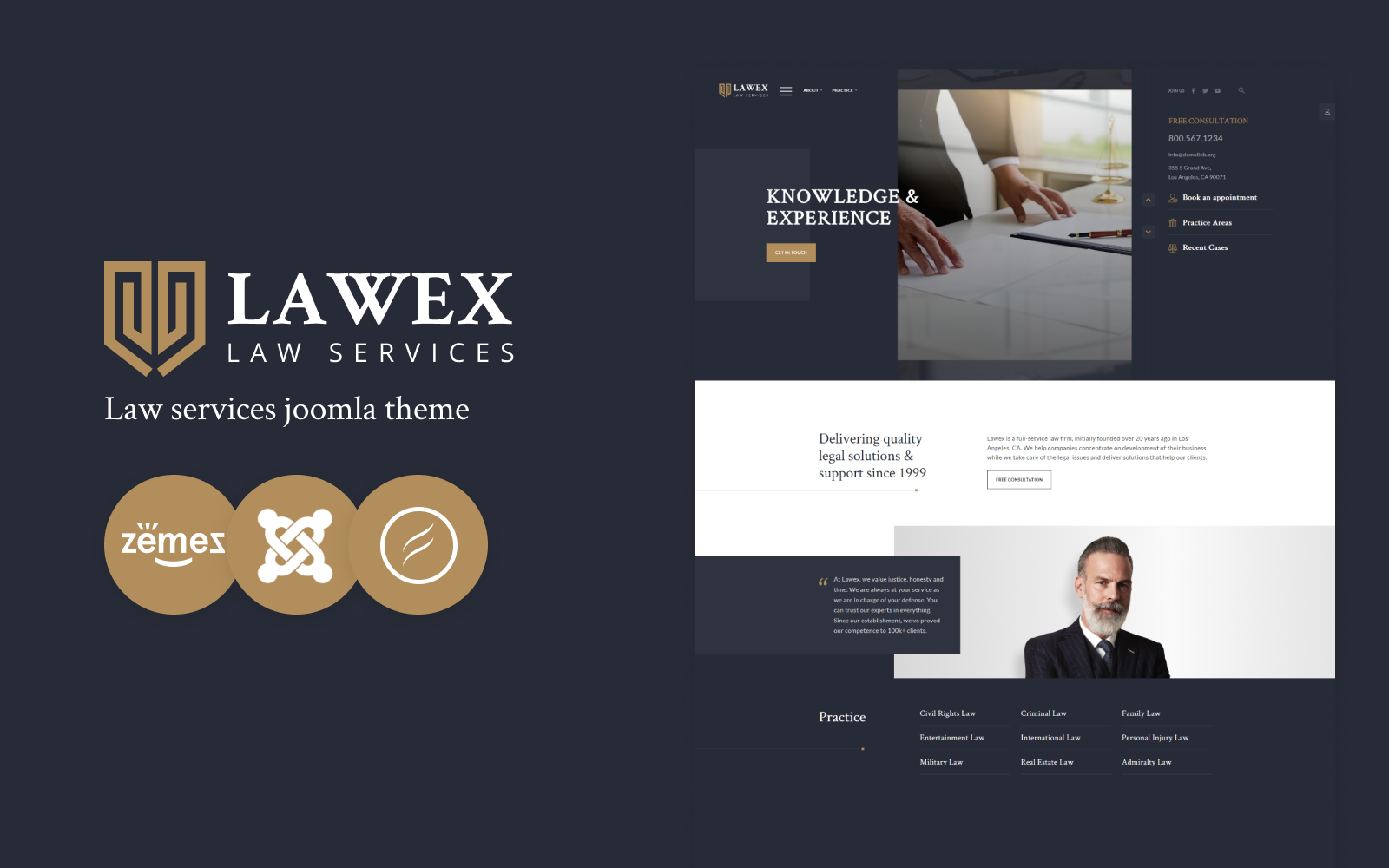 """Lawex - Law Firm Responsive Corporative"" - адаптивний Joomla шаблон №102543"