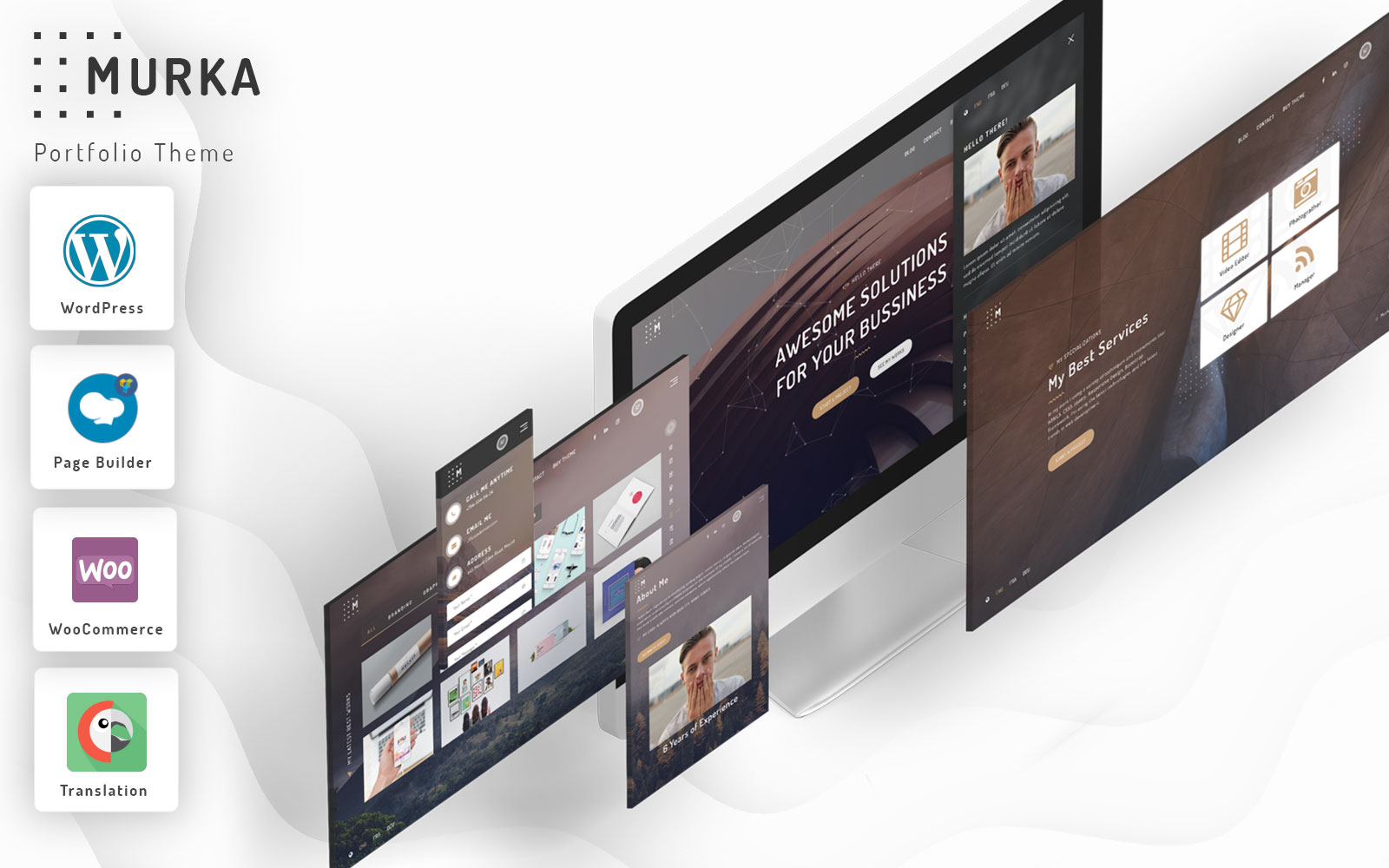 Murka - Full Screen Personal Portfolio Tema WordPress №102537