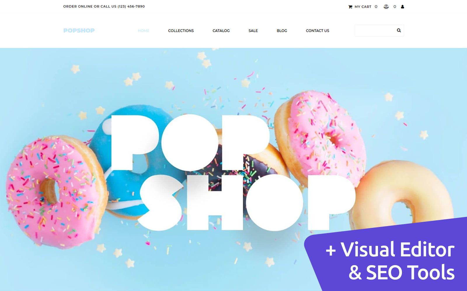 """Plantilla MotoCMS Para Comercio Electrónico """"Popshop - Sweet Shop"""" #102547"""