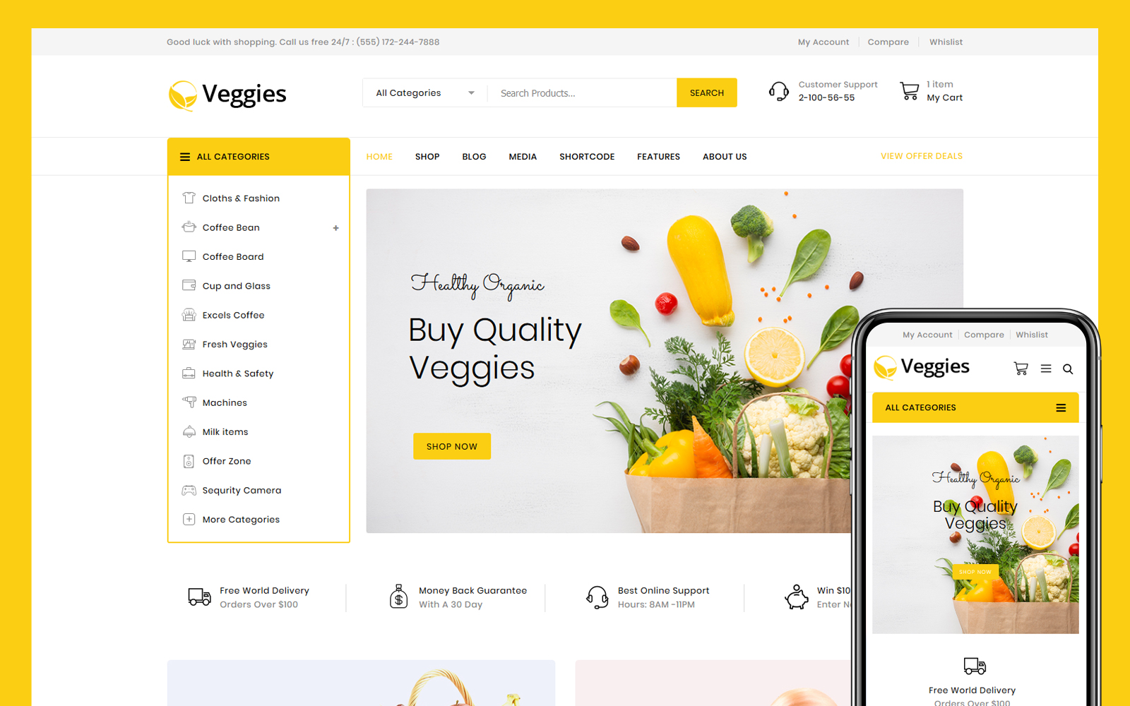 Responsivt Veggies - Multipurpose WooCommerce-tema #102536