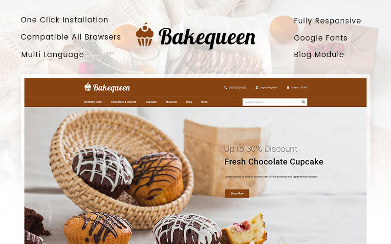 Responsywny szablon PrestaShop Bakequeen - Bakery Store #102598