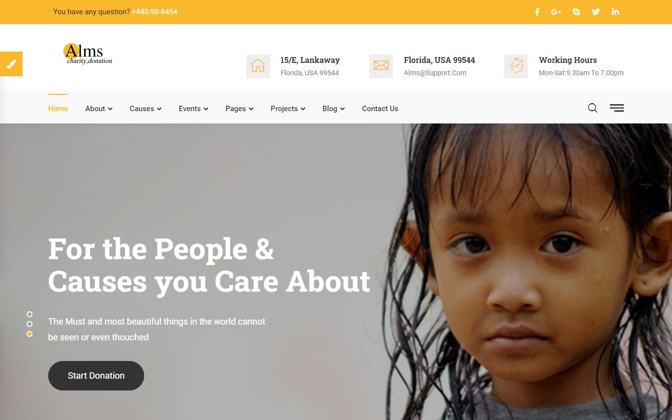 Reszponzív Alms - Charity Bootstrap Weboldal sablon 102535