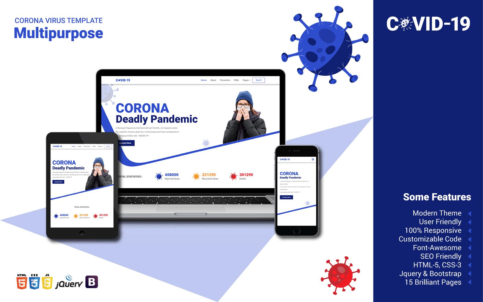 Reszponzív Multipurpose Corona Weboldal sablon 102596