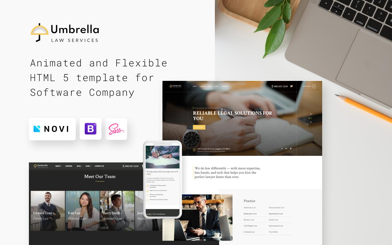 Reszponzív Umbrella - Law Consulting Weboldal sablon 102546