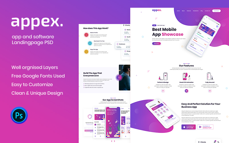 Szablon PSD Appex-App Landing Page #102538