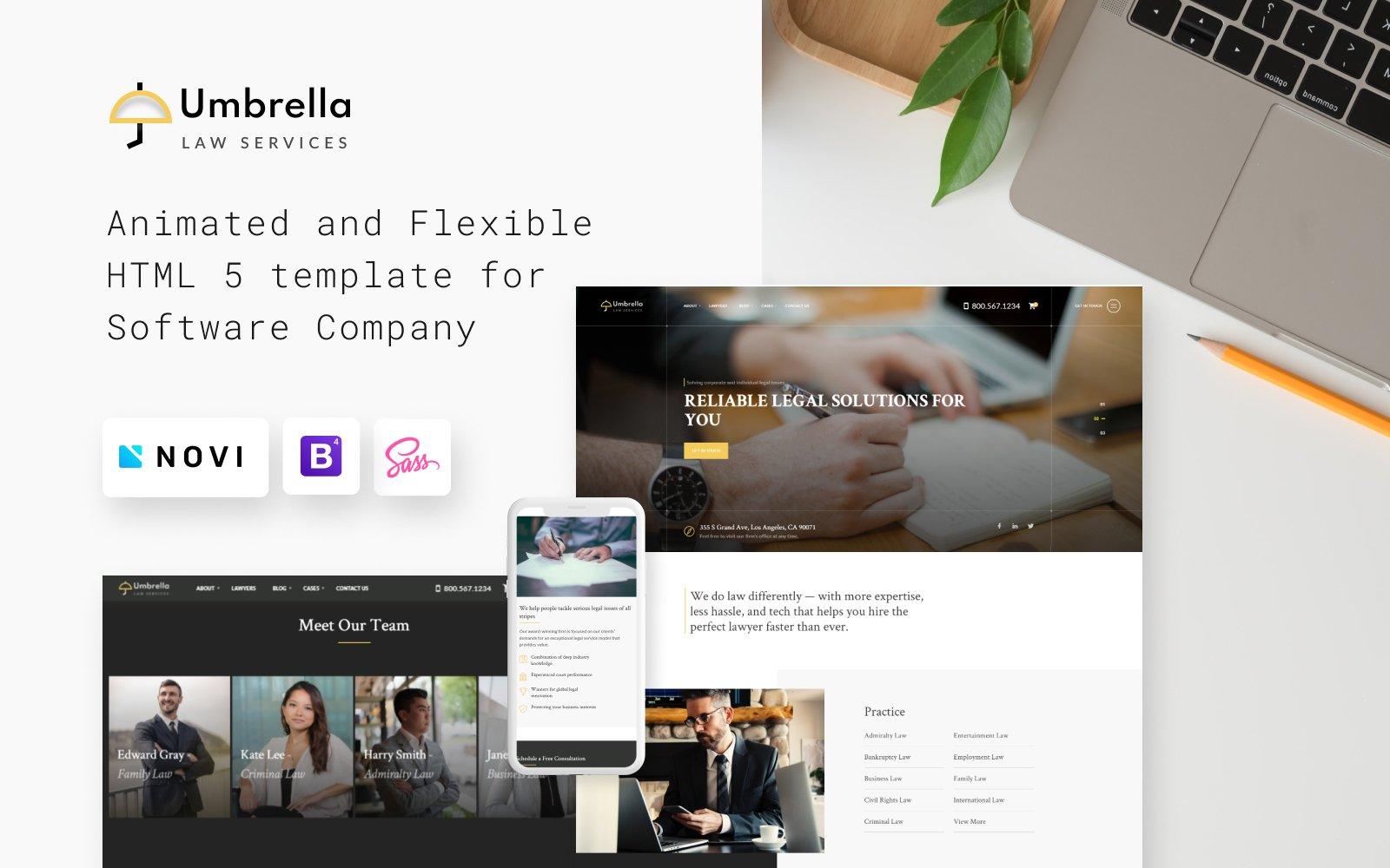 """""""Umbrella - Law Consulting"""" 响应式网页模板 #102546"""