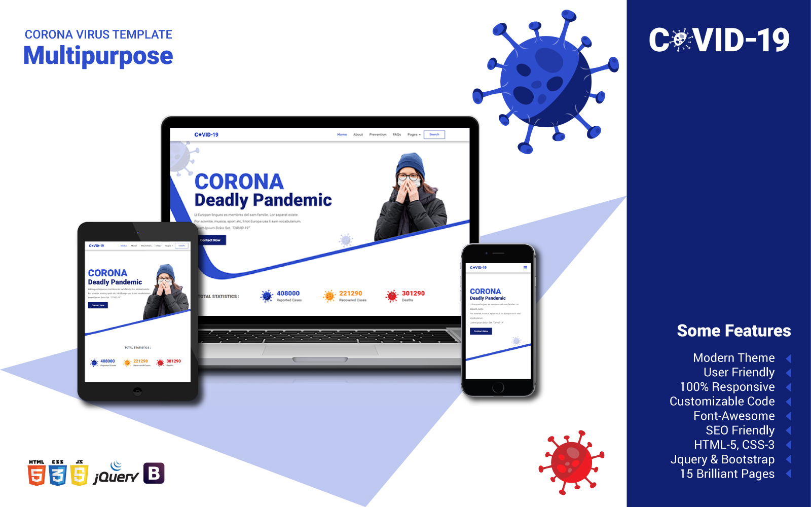 "Website Vorlage namens ""Multipurpose Corona"" #102596"