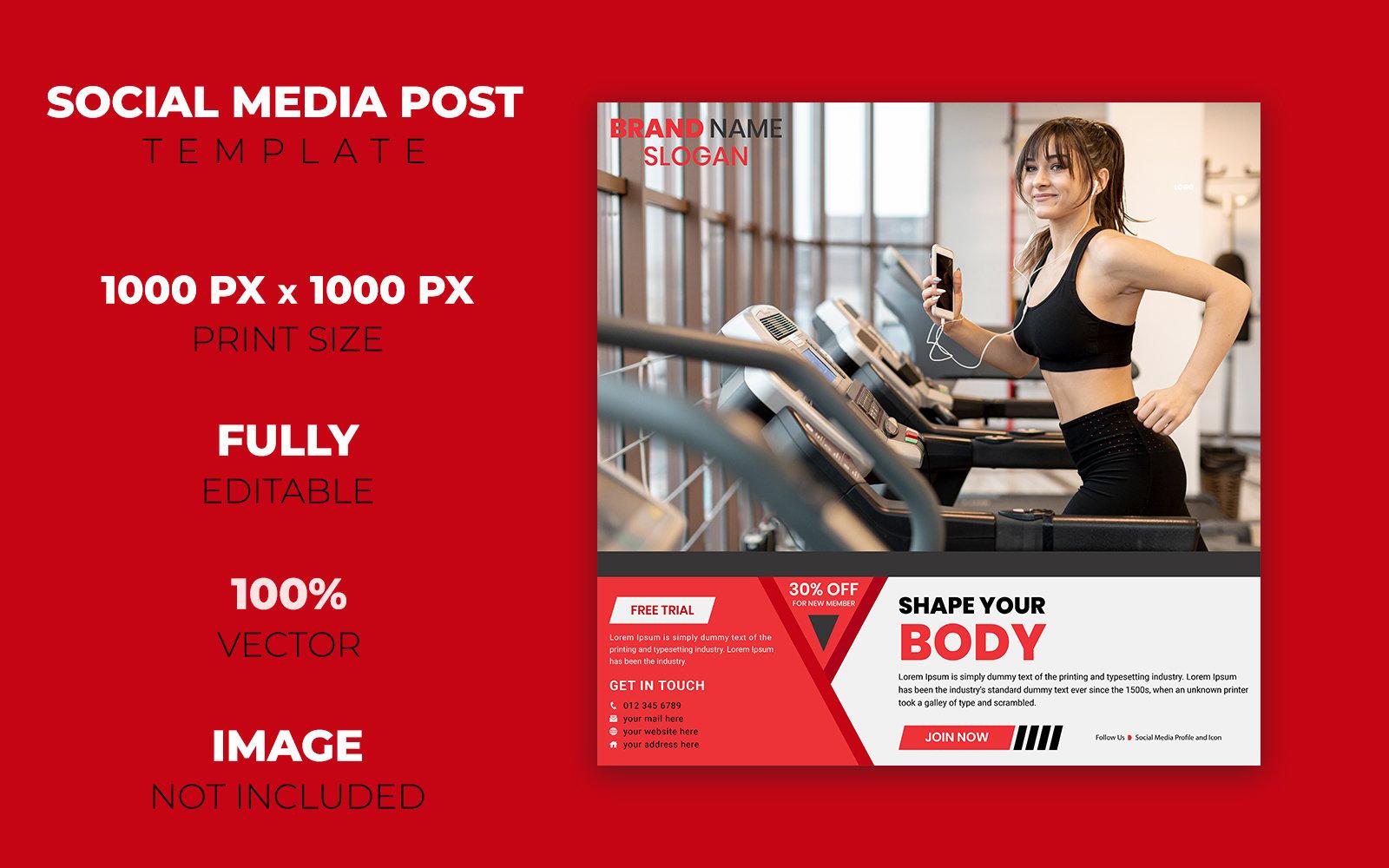 Gym Social Media Post Design Corporate Identity Template 102695