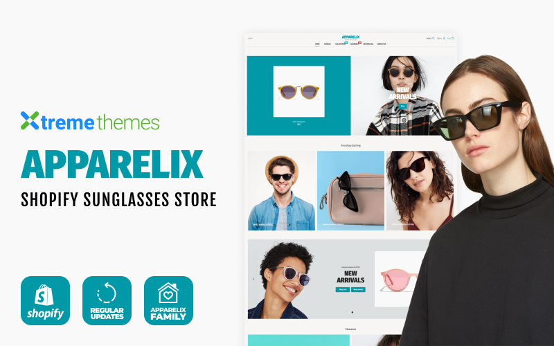 """Apparelix Sunglasses Store"" - адаптивний Shopify шаблон №102714"