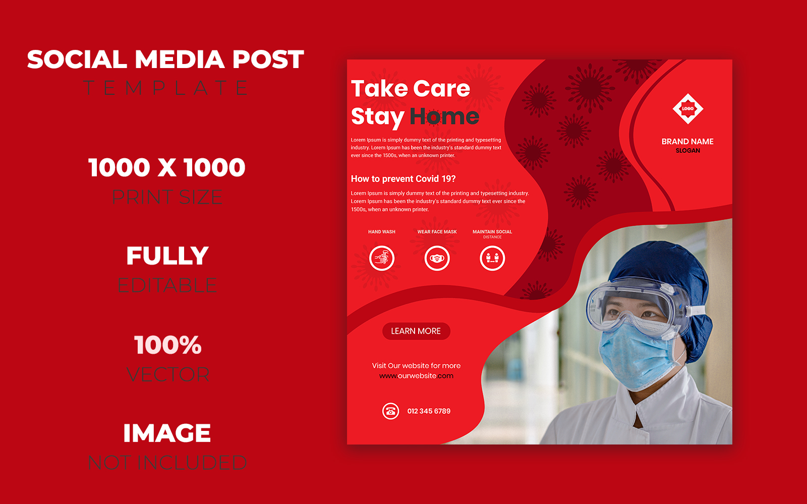 Corona Virus Covid-19 Prevention Social Media Post Design Corporate Identity Template