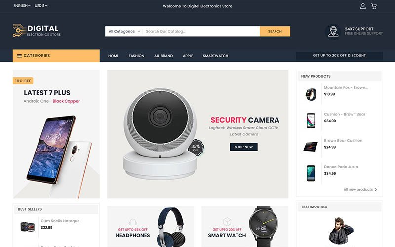 """Digital Electronics Store"" - PrestaShop шаблон №102765"