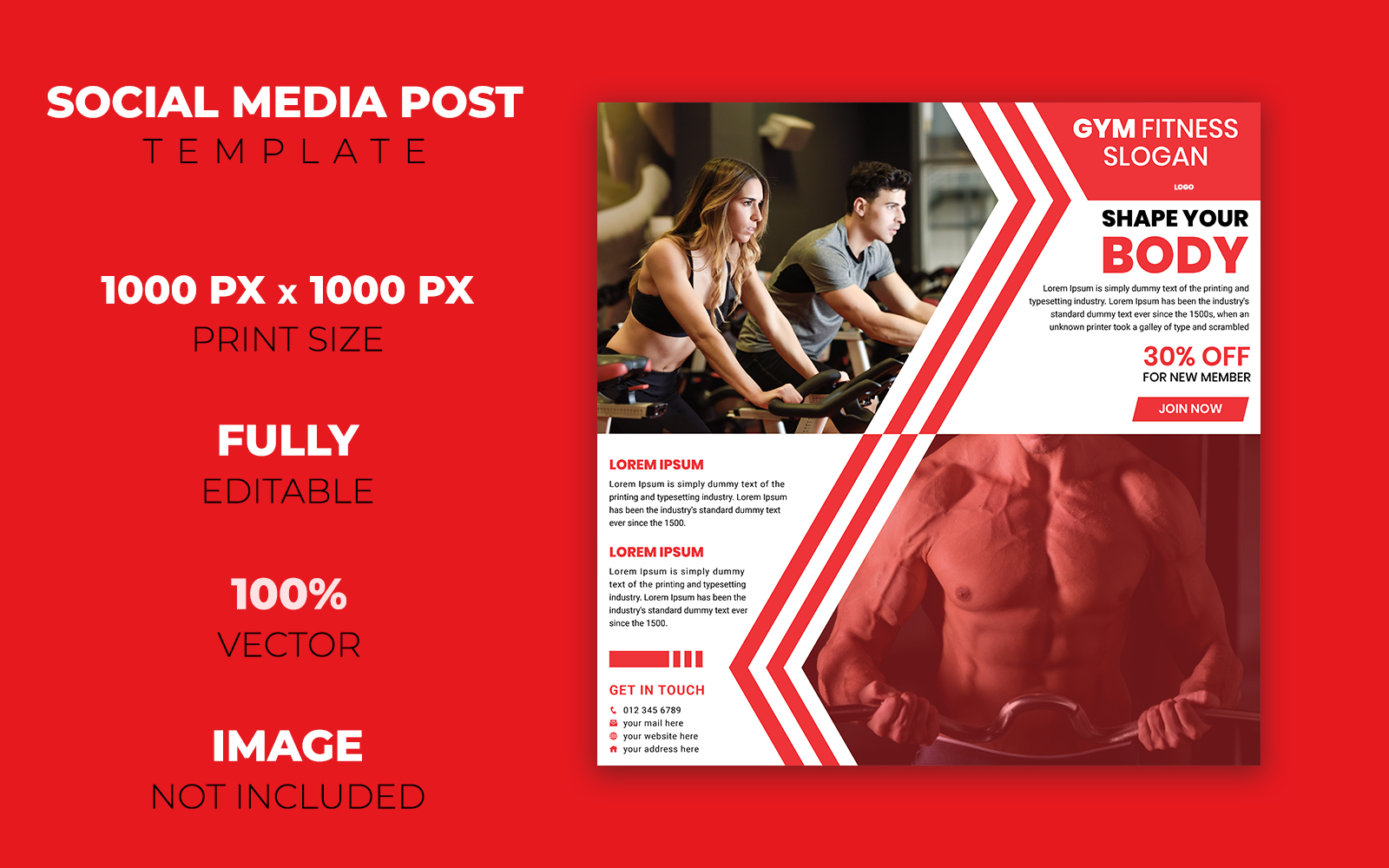 Gym Fitness Social Media Post Design Corporate Identity Template