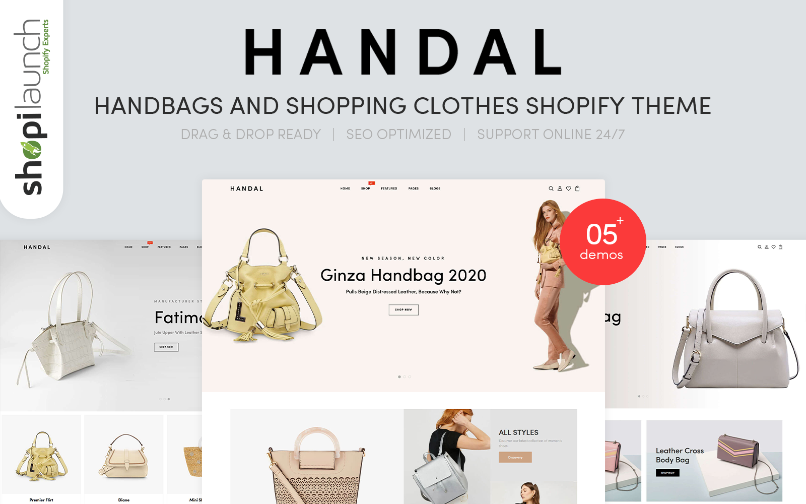 """Handal - Handbags & Shopping Clothes"" - адаптивний Shopify шаблон №102711"