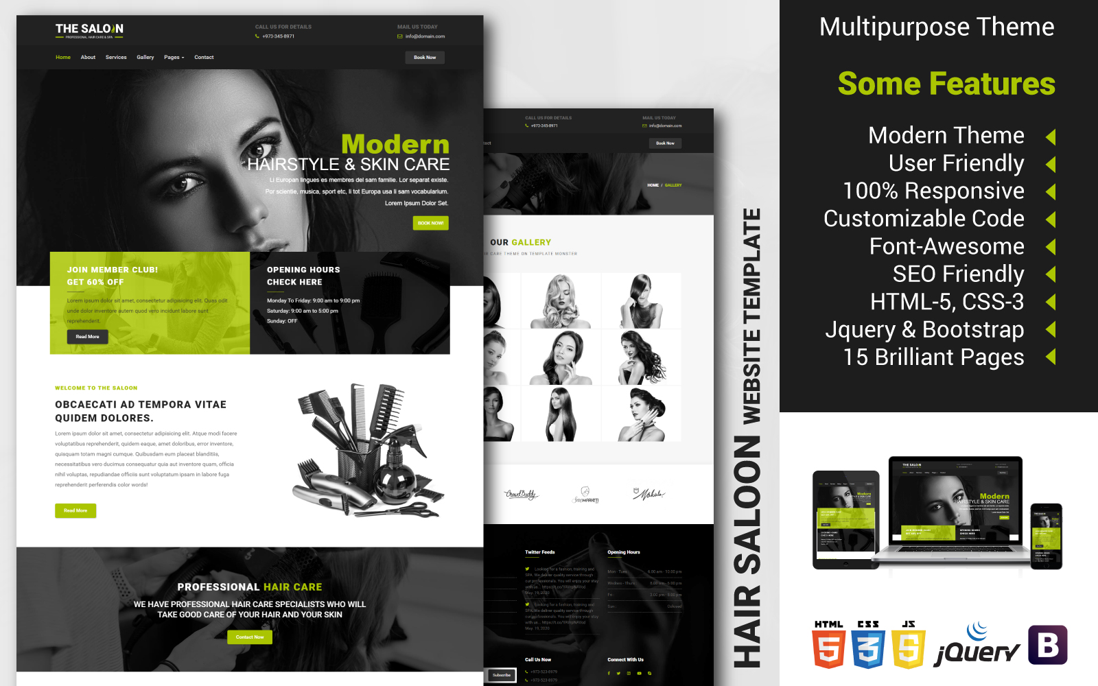 Multipurpose Hair Saloon Website Template