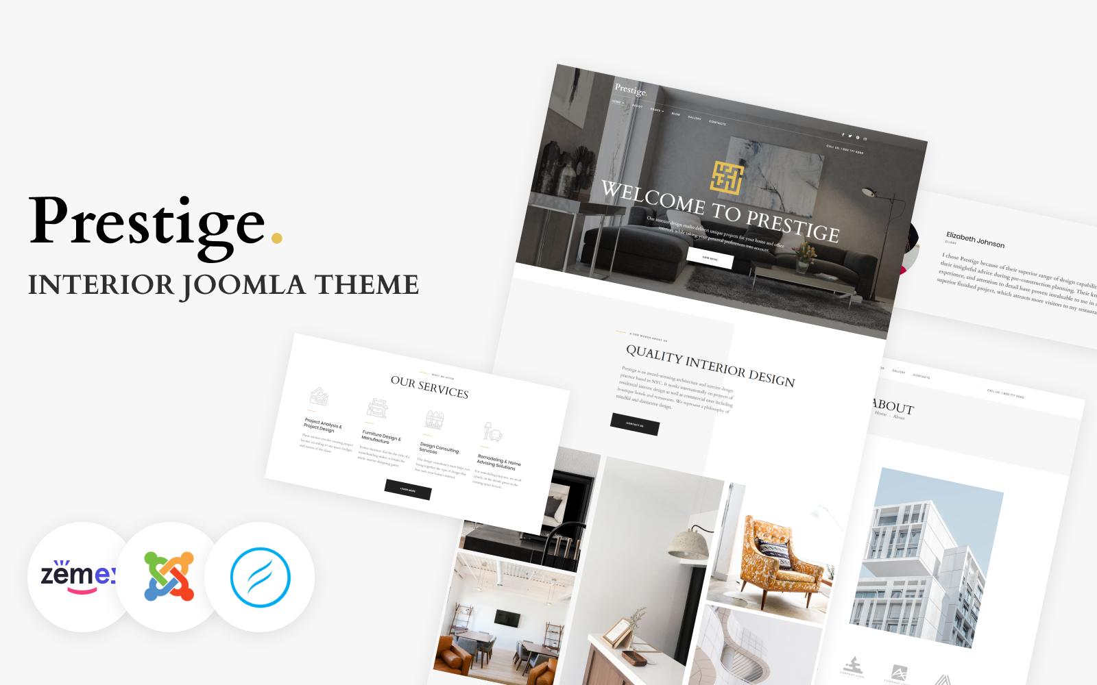 """Prestige - Interior Design Multipage"" - адаптивний Joomla шаблон №102715"