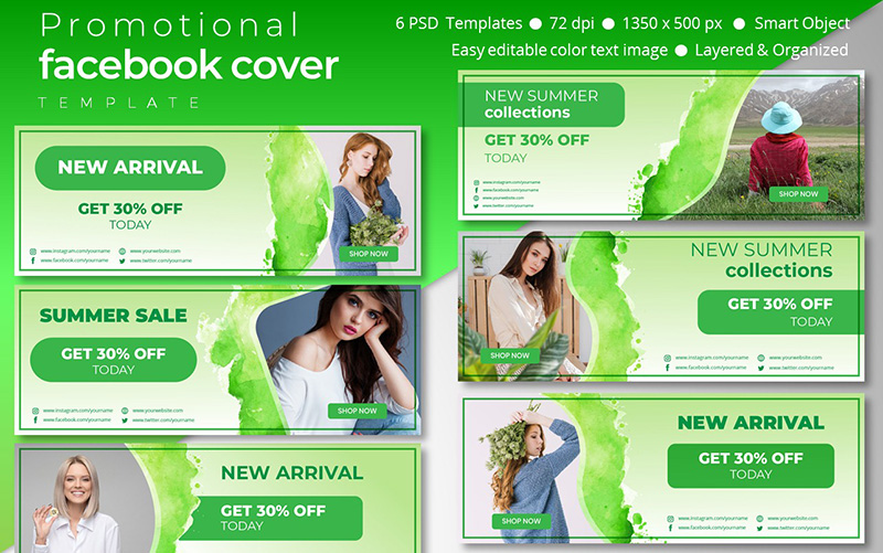 Promotional Facebook Cover Template Social Media
