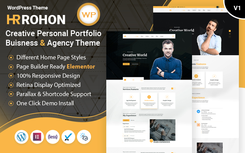 "Template WordPress Bootstrap #102712 ""Rohon - Creative Personal Portfolio Buisness and Blog"""