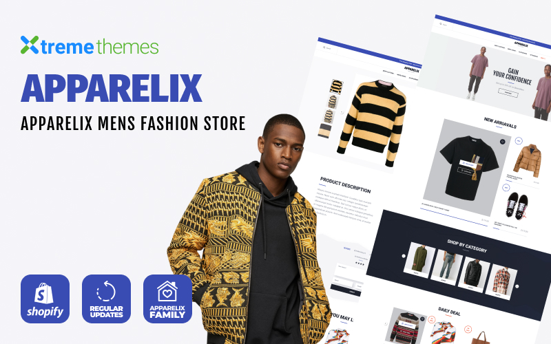 """Apparelix Men`s Fashion"" - адаптивний Shopify шаблон №102809"