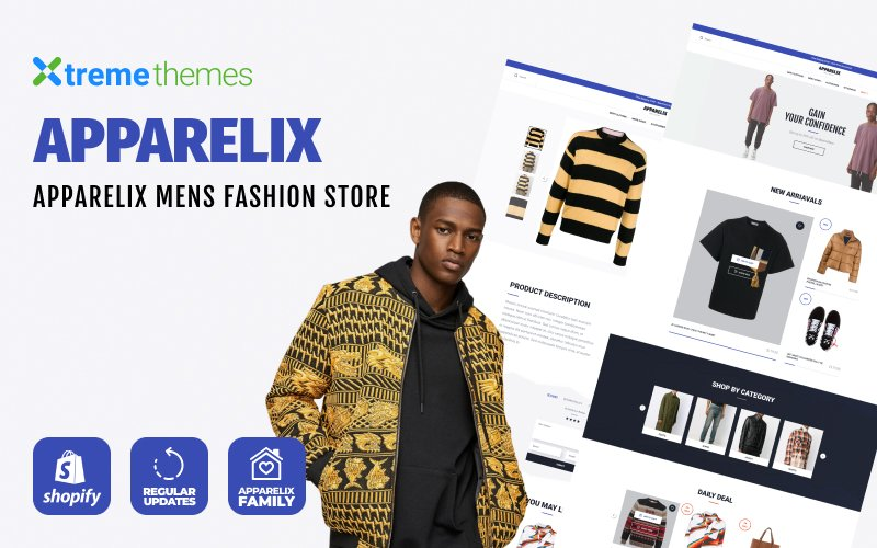 """Apparelix Men`s Fashion"" Responsive Shopify Thema №102809"