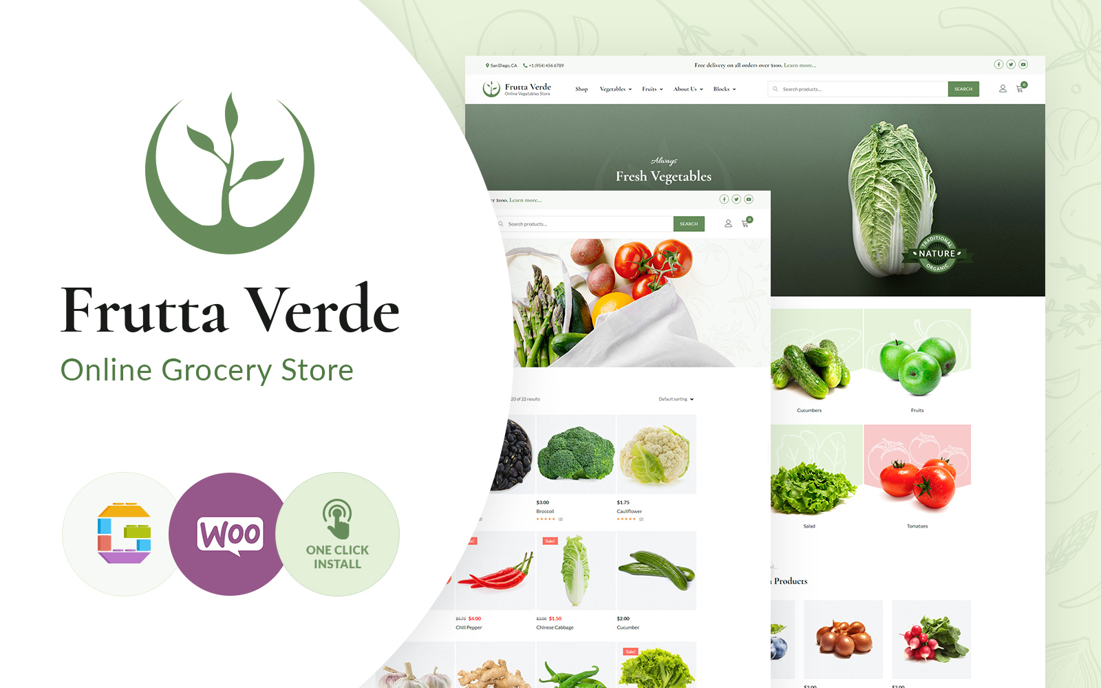 """Frutta Verde"" - адаптивний WooCommerce шаблон №102891"
