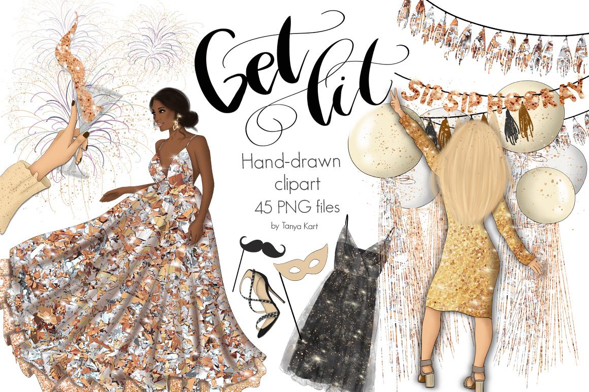 "Ilustración ""New Year Get Lit Design Kit"" #102839"