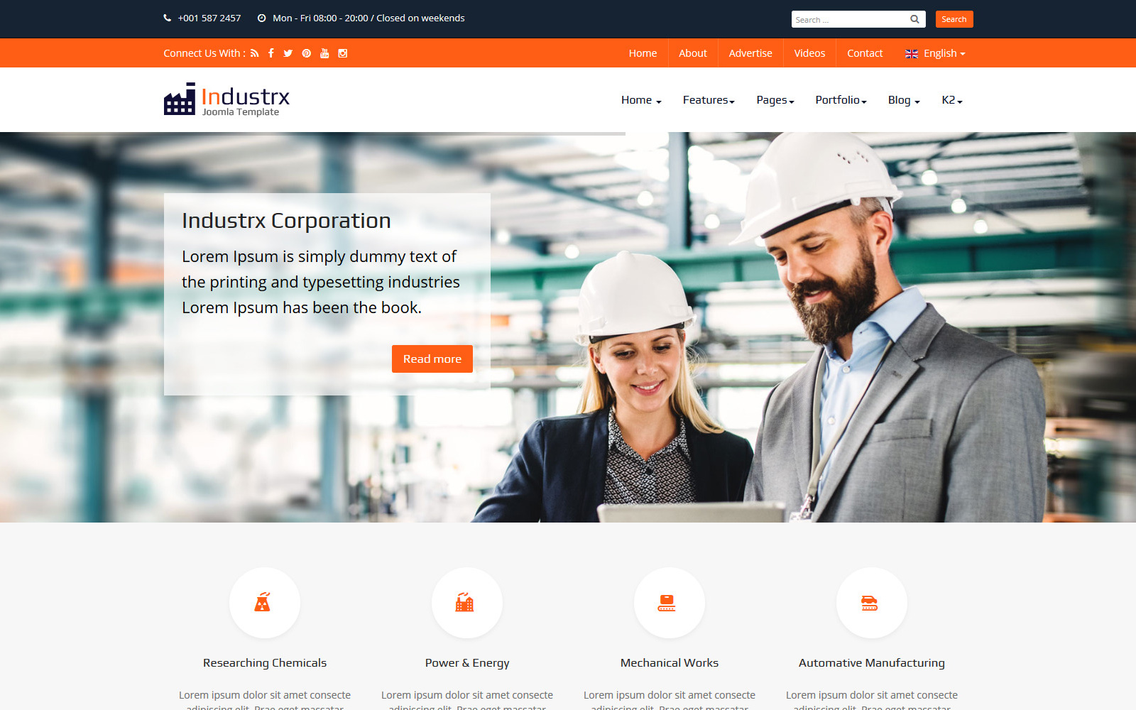 """Industrx Business-Industry"" Responsive Joomla Template №102884"
