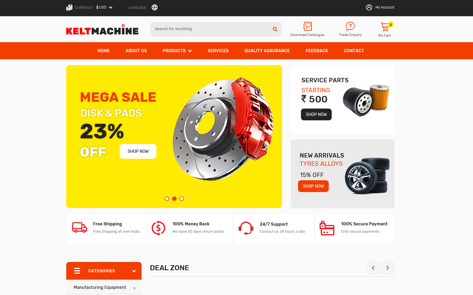 Keltmachine Auto Parts PSD Template