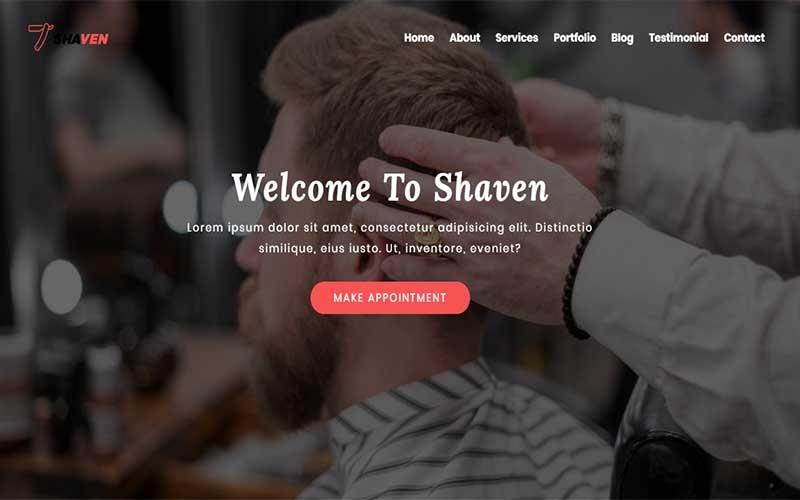 "Landing Page Template namens ""Shaven - Barber shop html"" #102887"