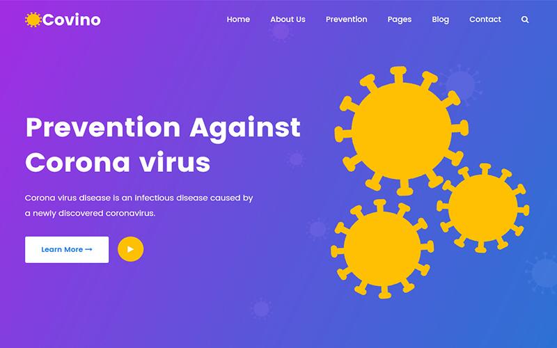 Reszponzív Covino - Corona Virus Medical Prevention HTML Weboldal sablon 102888