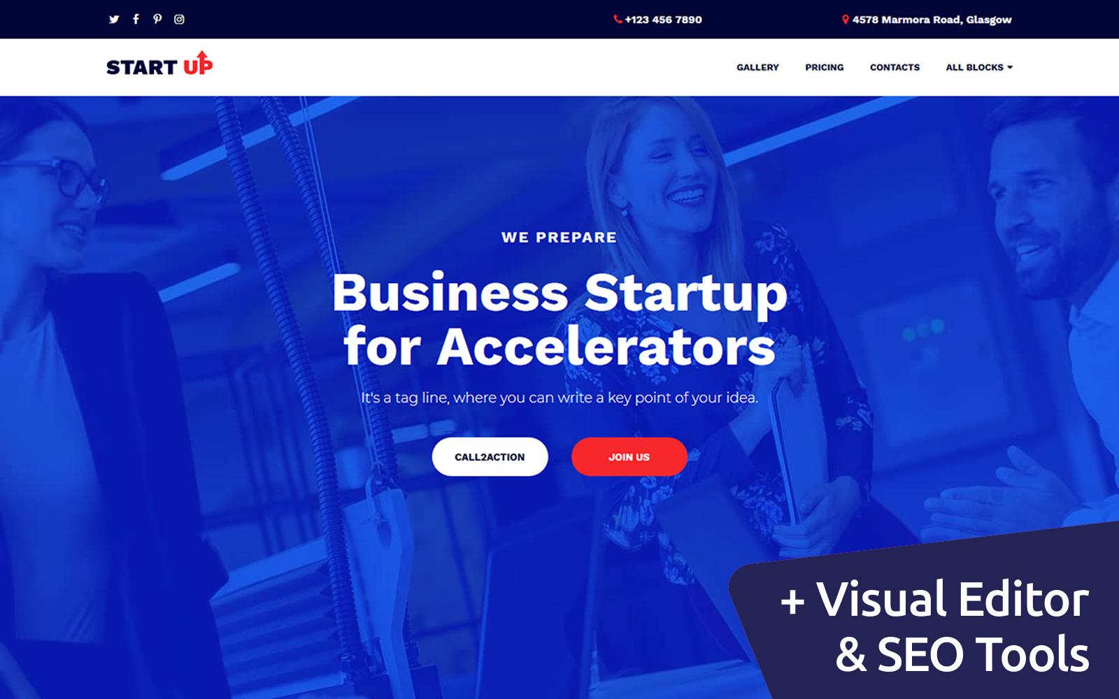 """Startup Companies & Accelerators"" Landingspagina Template №102890"