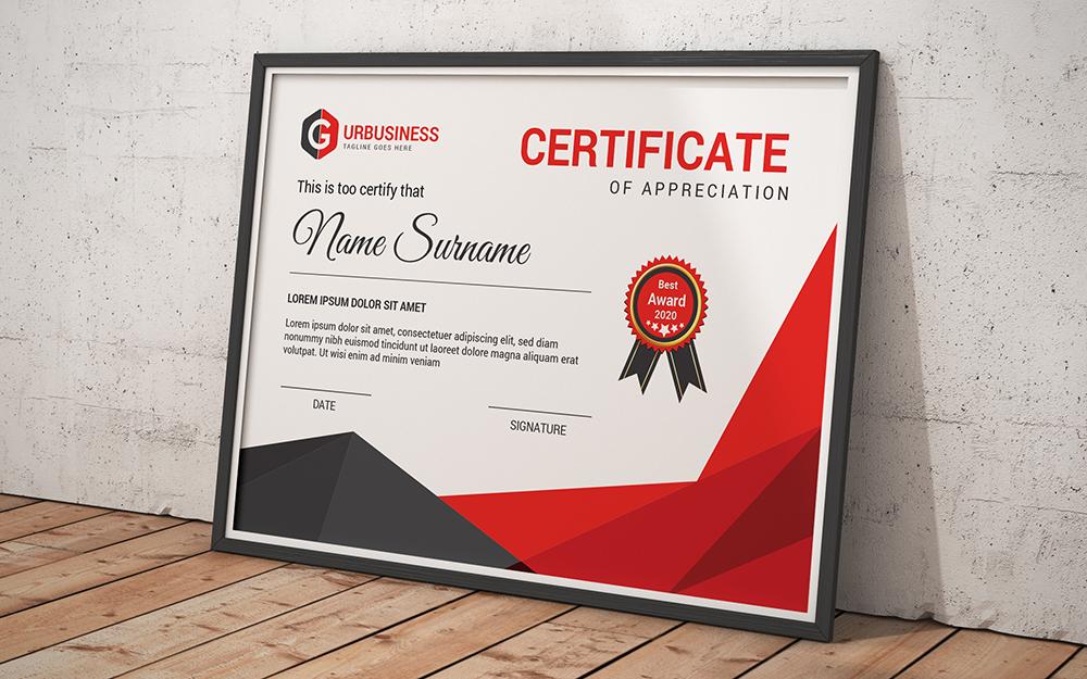"""Tema di certificato #102837 """"Award"""""""