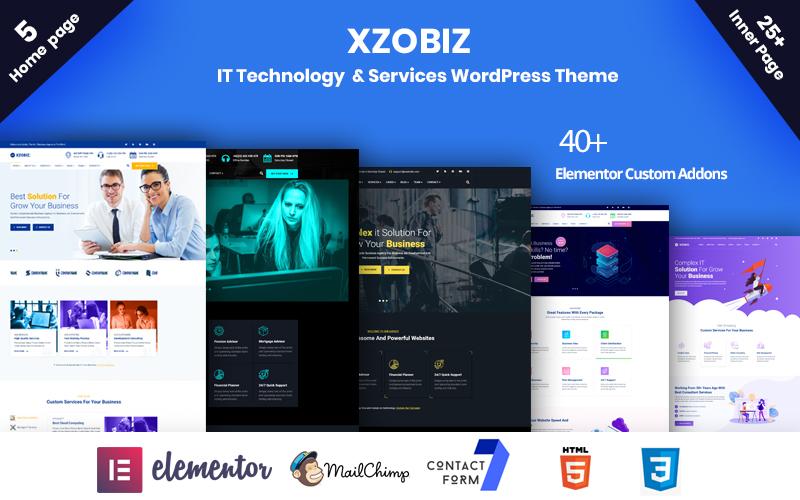 """Xzobiz -  IT Technology & Services"" Responsive WordPress thema №102885"