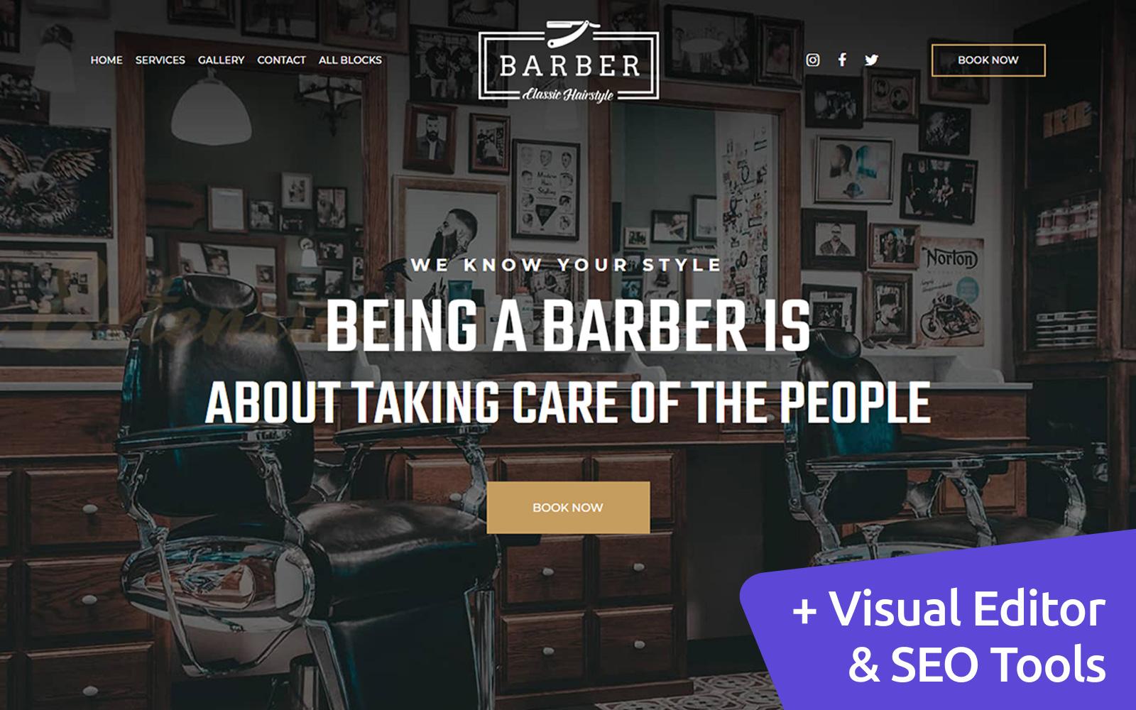 """""""Barber - Classic Hairstyle"""" - адаптивний Шаблон цільової сторінки №102984"""