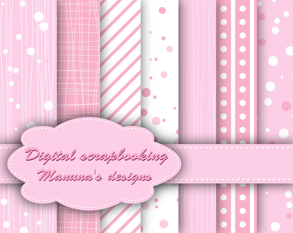 Cute Baby Pink Digital Papers for scrapbooking, card making, Invites, photo cards Pattern