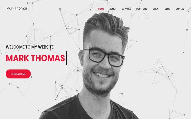 Reszponzív Mark Thomas - Personal Portfolio HTML Nyítóoldal sablon 102982