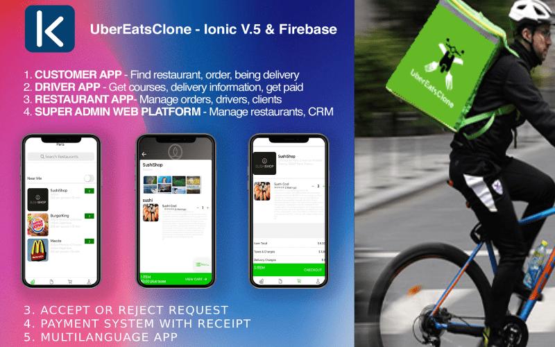 Reszponzív UberEatsClone - Ionic V.5 & Firebase Alkalmazás sablon 102981