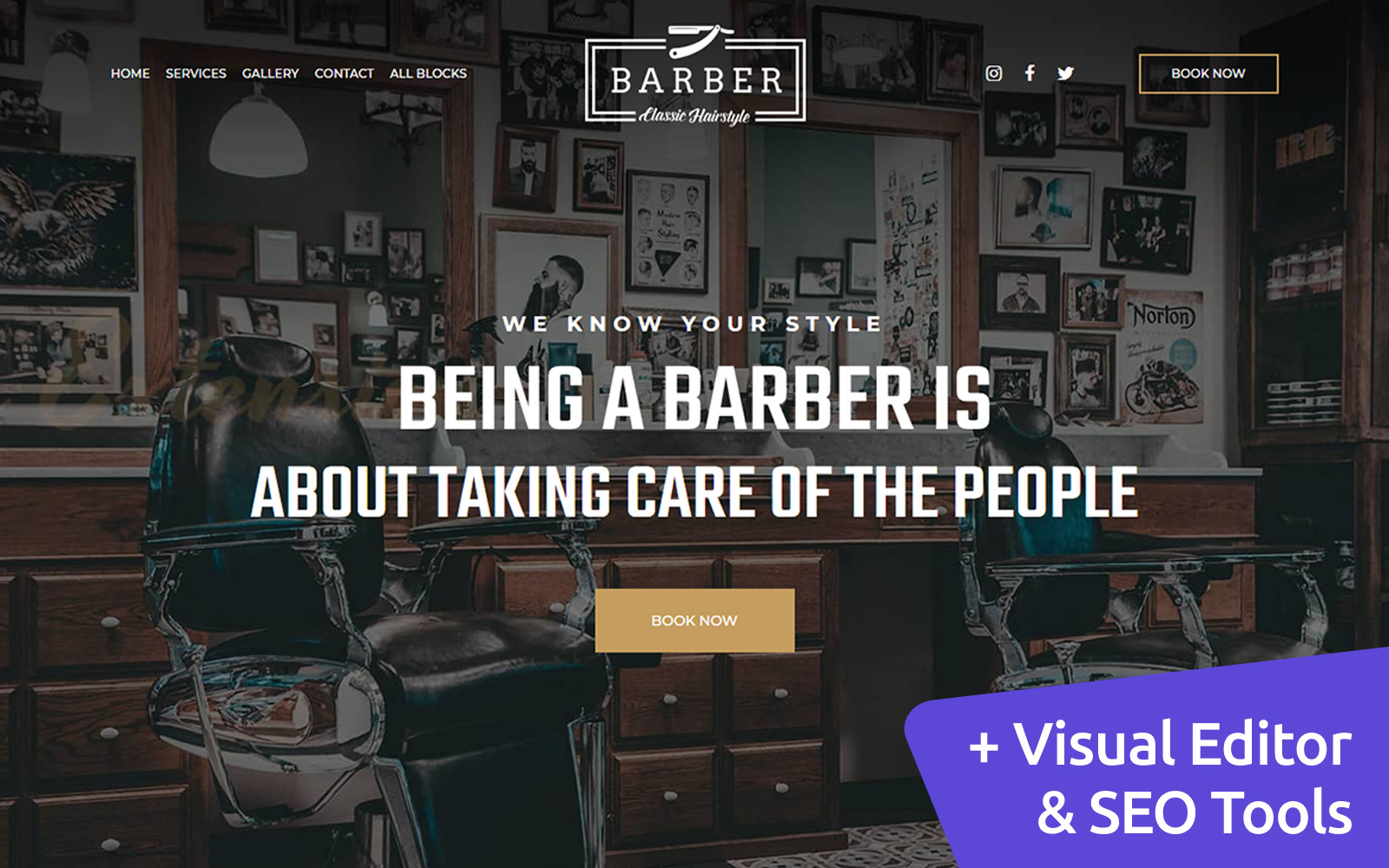 """Tema di Landing Page Responsive #102984 """"Barber - Classic Hairstyle"""""""