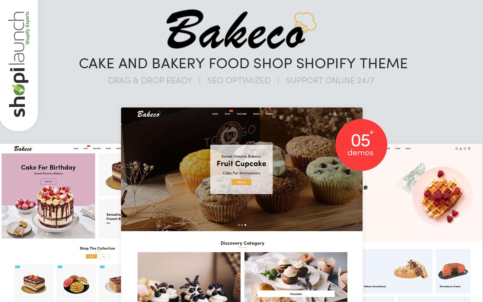 """Bakeco - Cake & Bakery Food Shop Responsive"" - адаптивний Shopify шаблон №103092"