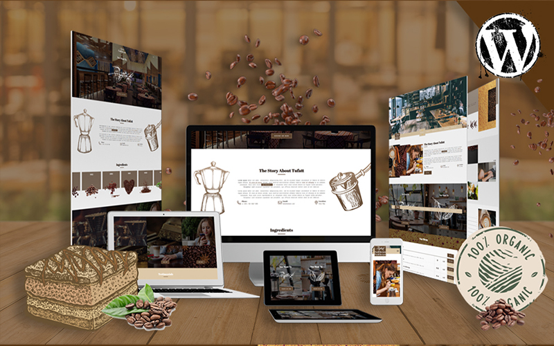"""Fattbeans | Coffee Shop & Barista"" Responsive WordPress thema №103093"