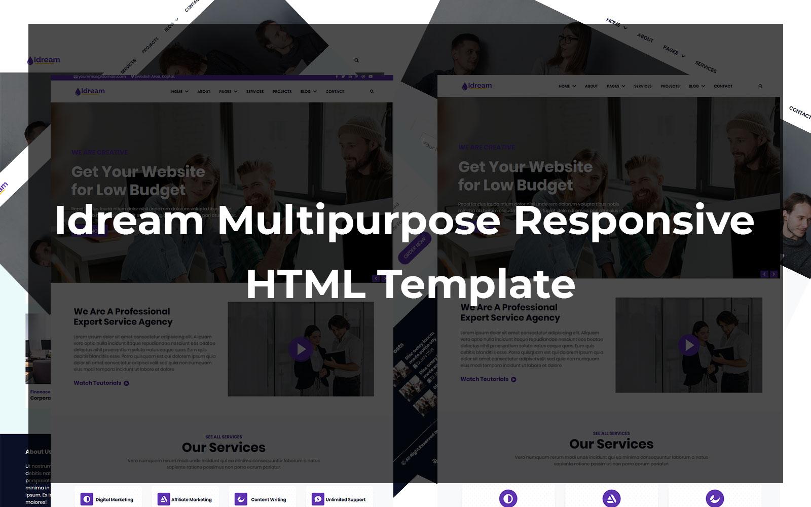 """Idream - Multipurpose Responsive HTML"" Responsive Website template №103091"