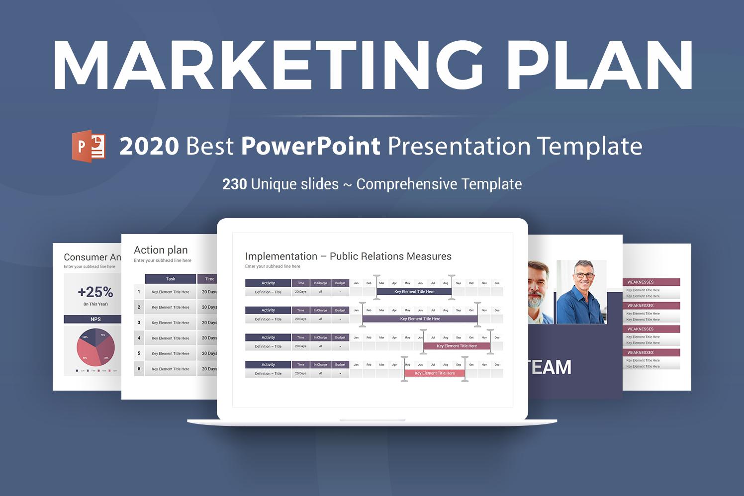 """Marketing Plan"" 奖金PowerPoint 模板 #103071"